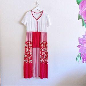 Vintage Ms. Conduct Patchwork Midi Dress
